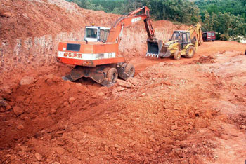 Excavators preparing the site